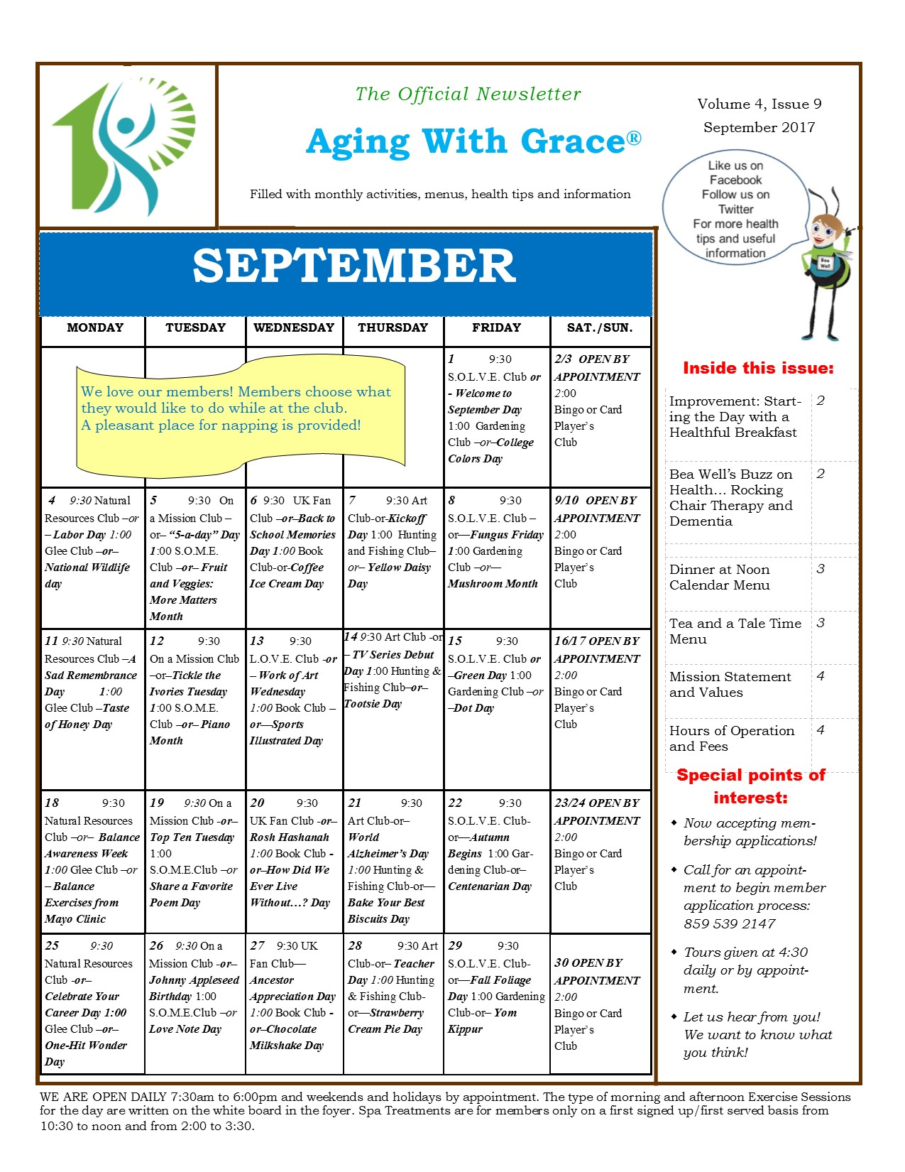 Aging With Grace Newsletter September 2017