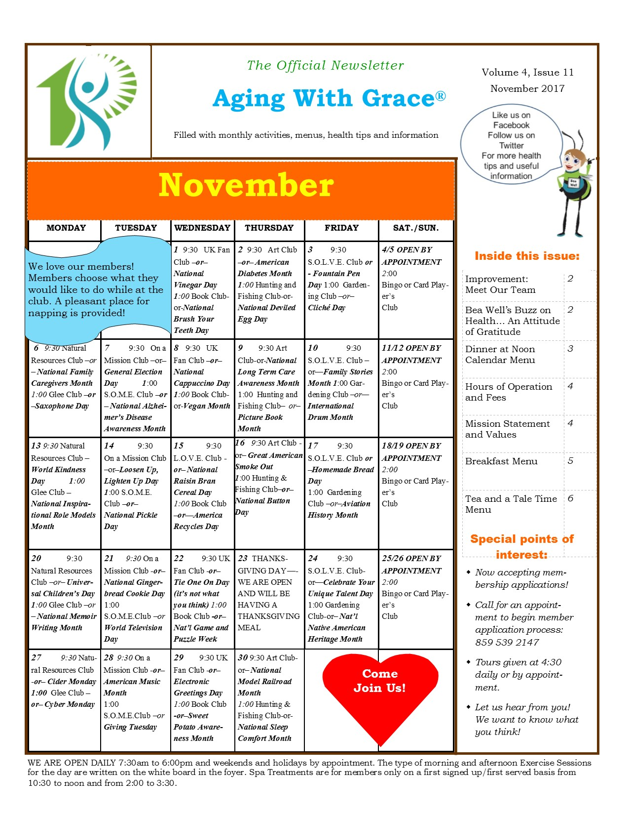 Aging With Grace Newsletter november 2017